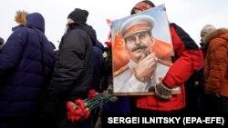 Ռուսաստանի կոմունիստները Իոսիֆ Ստալինի մահվան 65-րդ տարելիցին նվիրված միջոցառման ժամանակ, Մոսկվա, 5-ը մարտի, 2018թ․