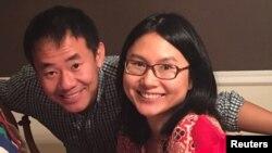 در این تصویر خانم کو و همسرش وانگ در ایالات متحده