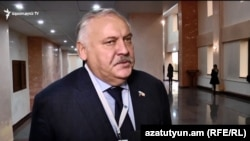 Russian State Duma member Konstantin Zatulin being interviewed by RFE/RL Armenian Service in Yerevan, 5Nov2019