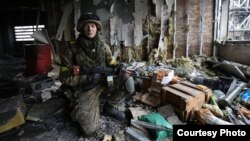 Twenty-two-year-old Serhiy Halyan during his tour of duty at Donetsk airport (Photo by Sergii Loiko)