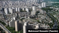 Modern Tehran aerial view shows the extent of large building projects.