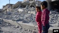 Сирияның соғыстан қираған Әл-Баб қаласы. 23 ақпан 2017 жыл.