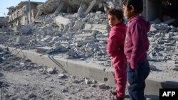 Дети в городе Эль-Баб, 23 февраля 2017 года