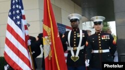 Armenia - U.S. marines participate in an Independence Day reception at the U.S. Embassy in Yerevan, 2Jul2014.