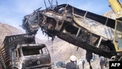 File photo of vehicles destroyed in accidents in Afghanistan.