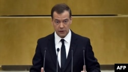 Russian Prime Minister Dmitry Medvedev made his remarks in parliament on April 19.
