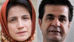 Sakharov prizewinners Jafar Panahi (right) and Nasrin Sotoudeh