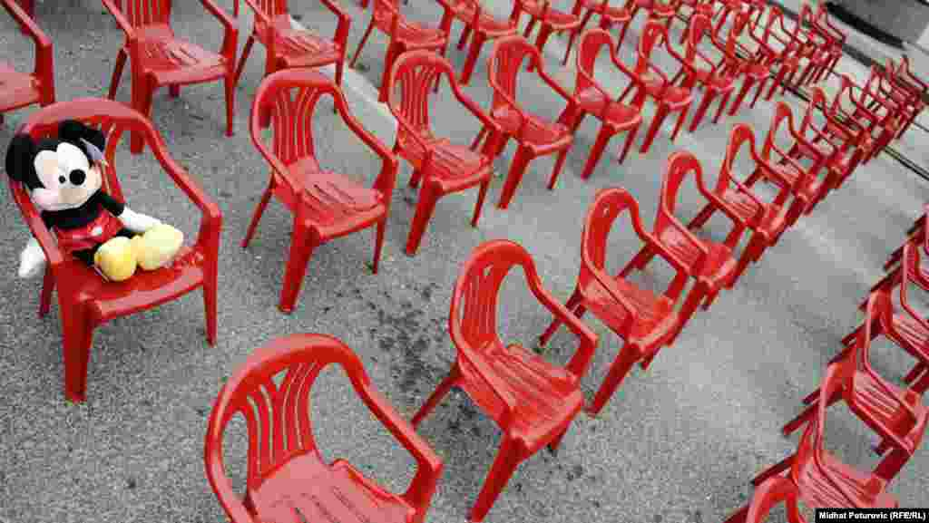 Many of the chairs were small to represent the hundreds of children killed.