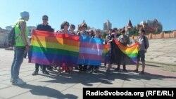 Участники ЛГБТ-шествия в Киеве, 6 мая 2015