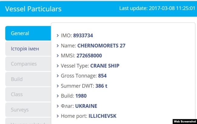 Информация об украинском плавкране «Черноморец-27» в базе MarineTraffic