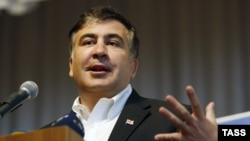 Ukraine -- Former Georgian president Mikheil Saakashvili at a meeting with sudents in Kyiv, February 26, 2014