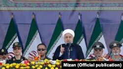 President Hassan Rouhani speaking at a ceremony commemorating the start of the Iran-Iraq war on September 22 in Tehran.