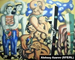"Картина ""Фархад Лежаев. Алаколь"" художника Куаныша Базаргали."