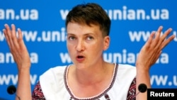 Nadia Savchenko made her announcement at a press conference in Kyiv on August 2.