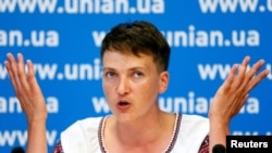 Ukraine -- Ukrainian pilot and MP Nadia Savchenko attends a news conference in Kyiv, August 2, 2016