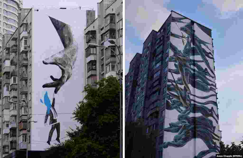 Murals by Greek artist INO (left) and Portuguese artist Pantonio.