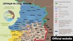 Карта ситуации в зоне боевых действий на Донбассе по положению на 14 февраля 2015 г.