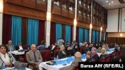 جانب من المشاركين في الاحتفال بيوم الاعلامية العراقية