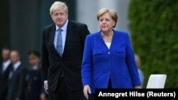 Kancelarja gjermane, Angela Merkel dhe kryeministri britanik, Boris Johnson