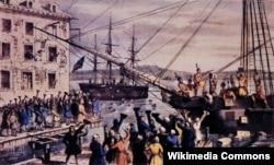 """Натаниэль Куррьер. """"Уничтожение чая в Бостонской гавани"""". Литография 1846 года."""
