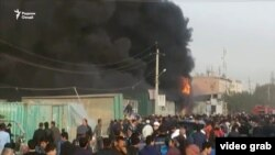 Tajik market in fire