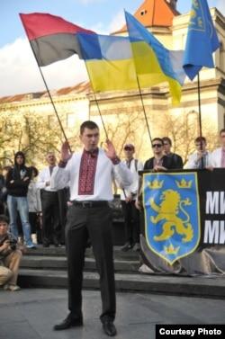 La demonstrația de la Lviv