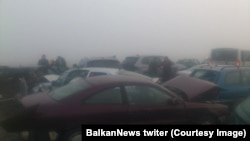 Lančani sudar kod Šimanovaca, foto: Tviter Balkan News