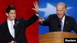 АҚШ вице-президенттігіне кандидаттар - Пол Райан (сол жақта) мен Джо Байден.