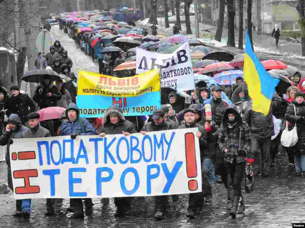 Львівські підприємці протестують проти Податкового кодексу, 29 листопада.Photo by Marian Striltsiv for REUTERS