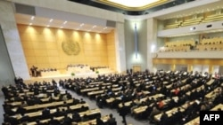 A UN Human Rights Council session at UN offices in Geneva in March 2008