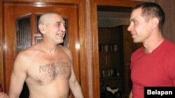 Tatooed activist Yury Rubtsou in his native city of Homel on August 23 after being released from prison