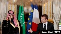 Presidenti francez, Emmanuel Macron dhe princi saudit, Mohammed bin Salman, foto nga arkivi.