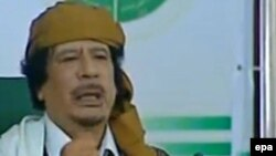 Лидер ливийской джамахирии Муаммар Каддафи. Триполи, 2 марта 2011 года.