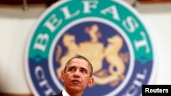 U.S. President Barack Obama speaks to guests at the Waterfront Hall in Belfast on July 17.