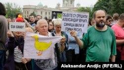 Protest zbog rušenja u Savamali, Beograd, 11.maj 2016.