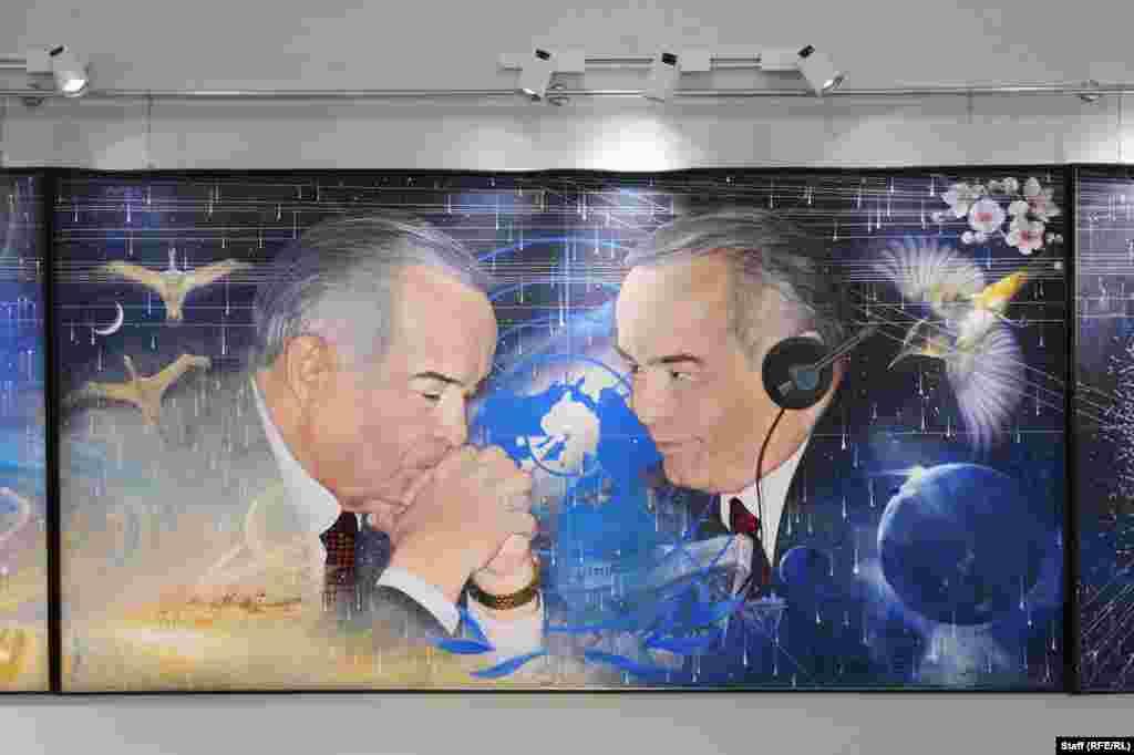 """""""Арал алааматы"""". Бул картина БУУнун жыйынына катышкан Каримовду чагылдырып турат."""