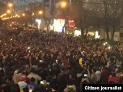 Protesters took to the streets of Zanjan.