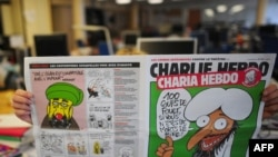 "An edition of satirical French magazine ""Charlie Hebdo"" due to be published on November 2 was to feature cartoons depicting the Muslim prophet Muhammad."