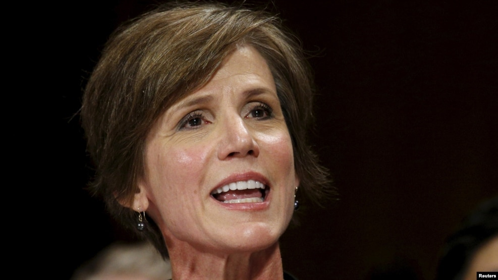 Sally Yates was the acting head of the Justice Department until being fired by U.S. President Donald Trump.