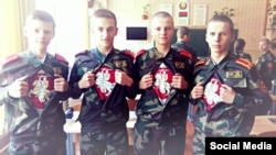 Belarus - Students of Cadet School in Yastrambel near Baranavichy, took pictures with the ancient Belarusian coat of arms Pahonia under uniform, 16Oct2015