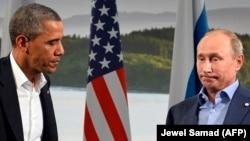 """Встреча Барака Обамы и Владимира Путина на саммите """"Большой восьмерки"""" в Ирландии в июне 2013 года"""