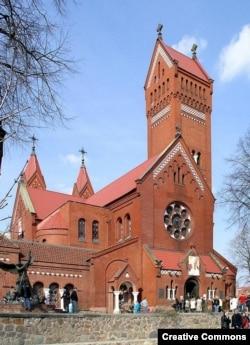 Minsk's Church of Saints Symon and Alena, aka the Red Church (file photo) .