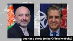 د بهرنیو چارو سرپرست وزیر محمد حنیف اتمر او په افغانستان کې د ناټو له ملکي استازي سټيفانو پونتېکورو