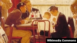 "Норман Роквелл ""Застольная молитва"" (фрагмент)"