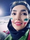 Iran -- A video grab of an Iranian football fan who recorded the story of her very first presence in Azadi stadium.