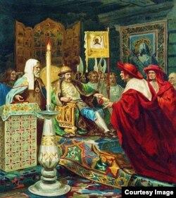 Генрих Семирадский. Папские легаты у Александра Невского. 1874 год