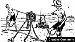 """Иллюстрация И. Семенова к книге """"Трое в одной лодке, не считая собаки"""""""
