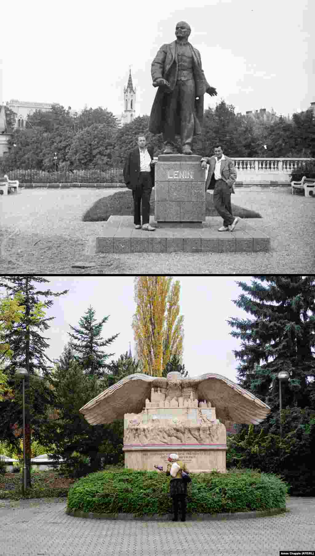 Veszprem 1962-2019​ A striding Lenin (top) that was replaced by a memorial to schoolteacher Arpad Brusznyai in the western town of Veszprem. Brusznyai was involved in the 1956 uprising in the city and was hanged by communist authorities in 1958. 1962 photo: Fortepan/Marton Gabor
