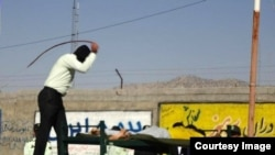 Iran -- a man Lashes in public in Iran, undated