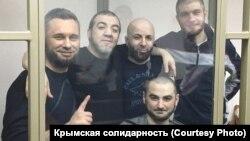 Фигуранты симферопольского «дела Хизб ут-Тахрир» в зале суда, Россия, апрель 2019 года